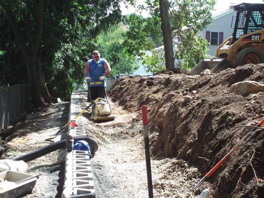 """compaction and drainage 3'back 3/4"""" stone min"""